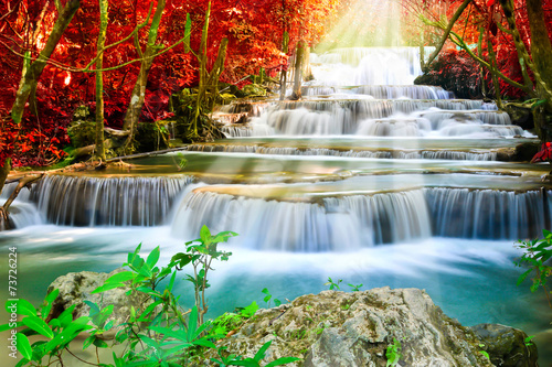 Recess Fitting Waterfalls Beautiful waterfall in autumn forest