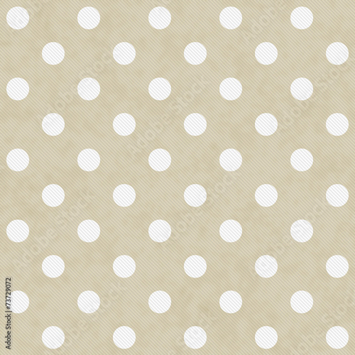 Fotografia  Beige and White Large Polka Dots Pattern Repeat Background