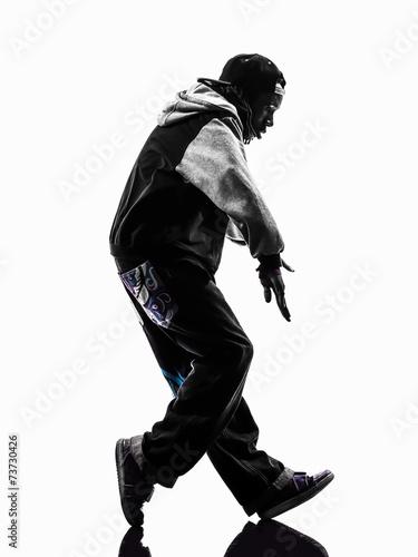 Obraz na plátně hip hop moonwalking break dancer breakdancing young man silhouet