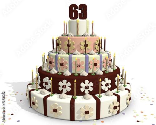 Fotografia  63 jaar oud - verjaardag met taart