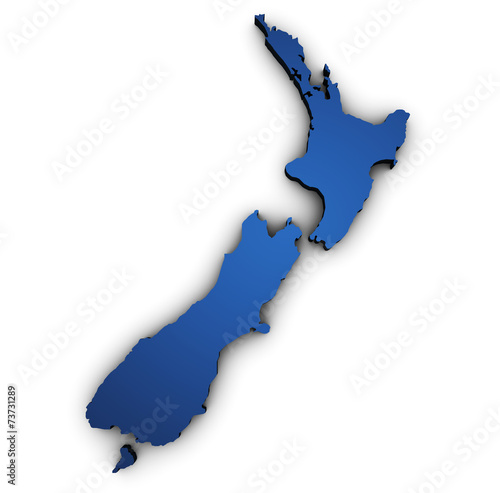 Map Of New Zealand 3d Shape Canvas Print