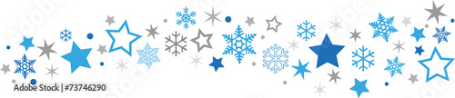 Obraz Schneeflocken Sternenband blau-grau - fototapety do salonu