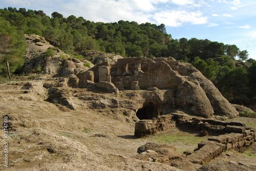 Spoed Foto op Canvas Grijze traf. Bobastro, antigua ciudad medieval, Ardales, Málaga
