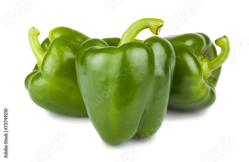 Three sweet green peppers Fototapeta