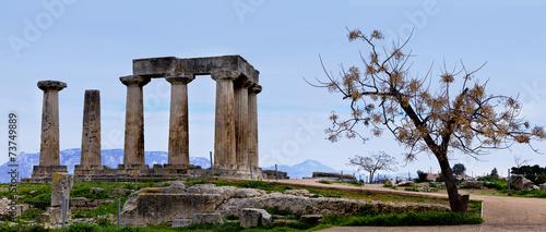 Valokuva  Ruins of Appollo temple in ancient Corinth. Greece.