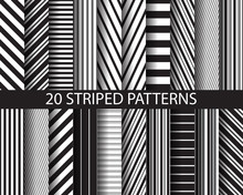 20 Black And White  Striped Pa...