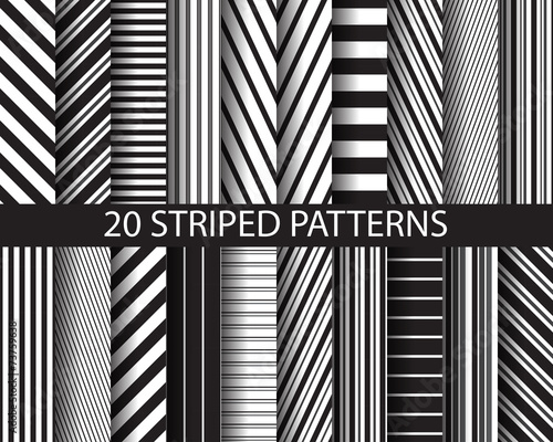 Tablou Canvas 20 black and white  striped patterns