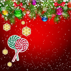 Christmas background with Christmas tree branches decorated.