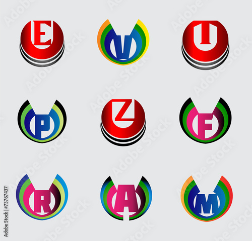 Photo  Set of full alphabet symbols and letters, such logo E,
