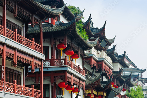 Chinese traditional buildings in Shanghai. Poster