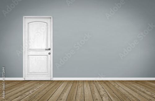 Fotografía  Sitio vacío / suelo de madera con puerta