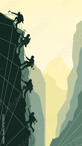 Vertical illustration of alpinists. Wallpaper Mural