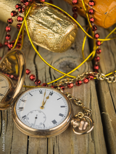Fotografie, Obraz  pocket watch and champagne bottles
