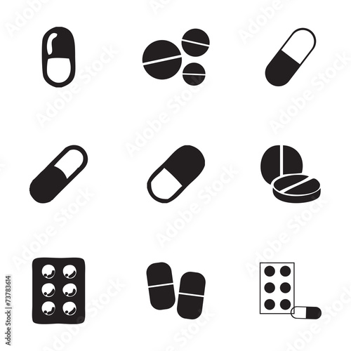 Stampa su Tela Vector pills icons set