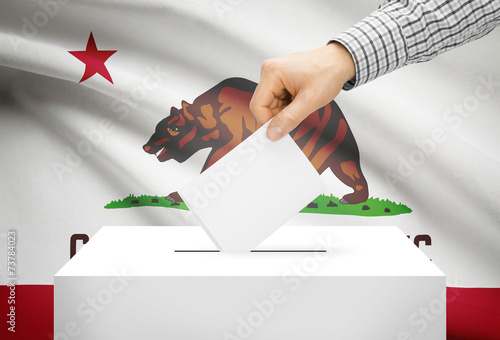 Ballot box with national flag on background - California Fototapet