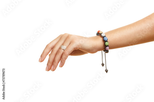 Stampa su Tela bracelet on a hand isolated