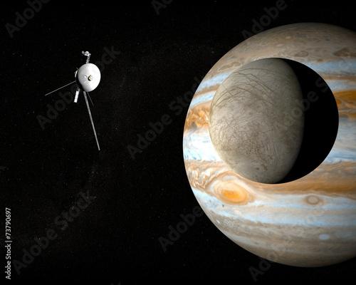 Obraz na plátne Satellite Europa, luna di Giove, spazio sonda voyager