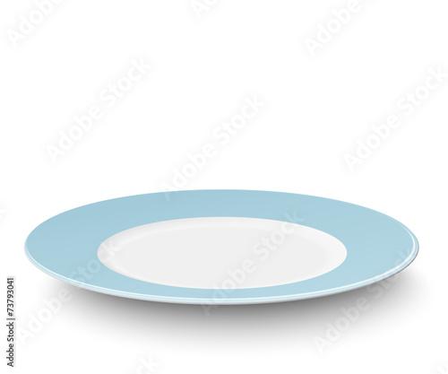 Stampa su Tela Empty light blue plate isolated