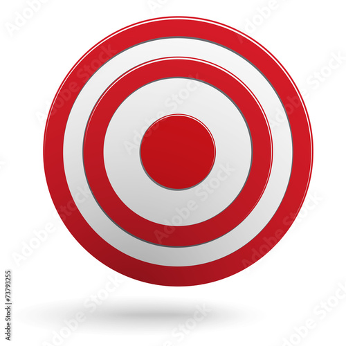 Fotografie, Obraz  Red round darts target aim isolated on white