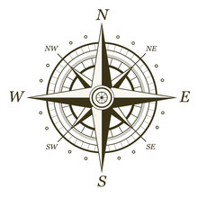 Classic Wind Rose Isolated On White