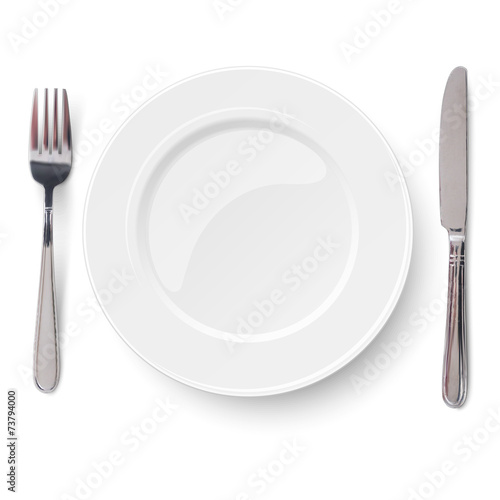 Fotografie, Obraz  Empty plate with knife and fork isolated on a white