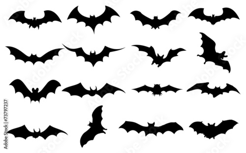 Bats icons set Wallpaper Mural