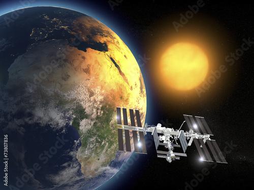 Obraz Iss, Stazione Spaziale Internazionale, orbita terra, spazio - fototapety do salonu