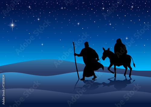 Stampa su Tela Silhouette illustration of Mary and Joseph, journey to Bethlehem