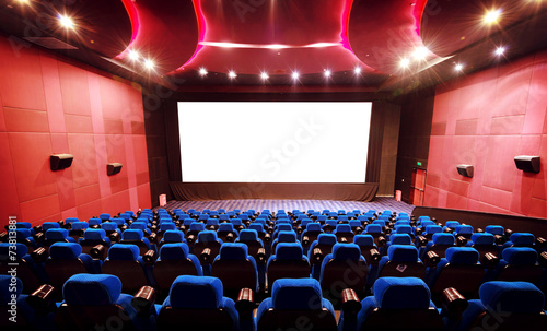 Empty movie theater with red seats Canvas Print