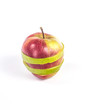 horizontal striped apple made up of two colors