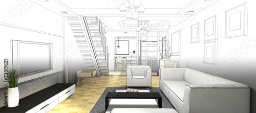 sketch design of living room ,3dwire frame render
