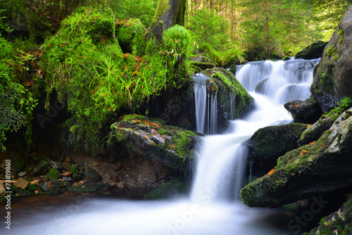 Keuken foto achterwand Watervallen Waterfall in the national park Sumava-Czech Republic