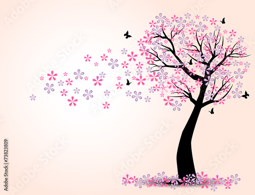 Leinwand Poster the silhouette of cherry trees and butterfly vector