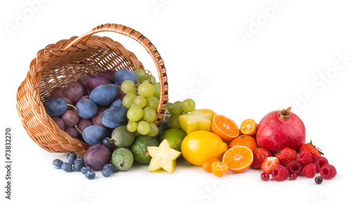 Poster Fruit basket with ripe fesh fruits as a rainbow
