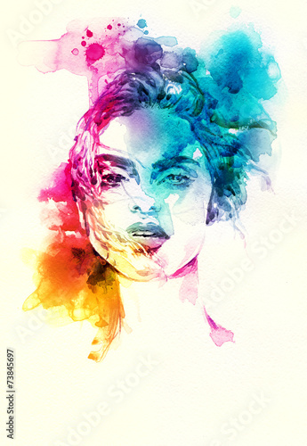 Fotografie, Obraz  woman portrait .abstract watercolor .fashion background