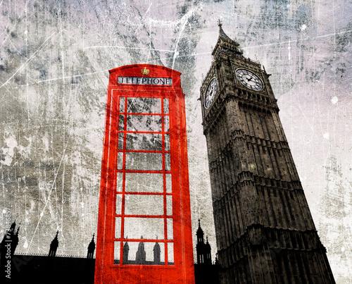 Fototapeta Old London Composing Telefonzelle und Big Ben