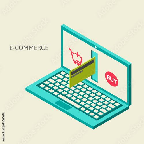 Fototapeta Vector concept of online shop obraz na płótnie