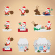 Santa Claus Set - Isolated On Pink Background