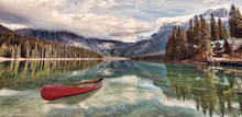 Red Canoe On Emerald Lake