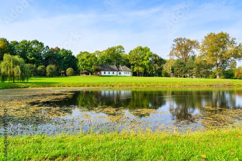 Deurstickers Groene Lake in countryside landscape of Poland in Radziejowice village