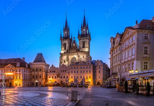 Fotobehang Praag Church of Our Lady of Tyn, Prague-before sunrise