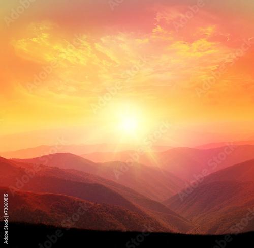 Foto op Aluminium Bergen Sunset in the mountain