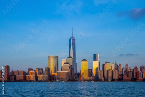 Manhattan Skyline from Jersey at twilight, New York City Canvas Print