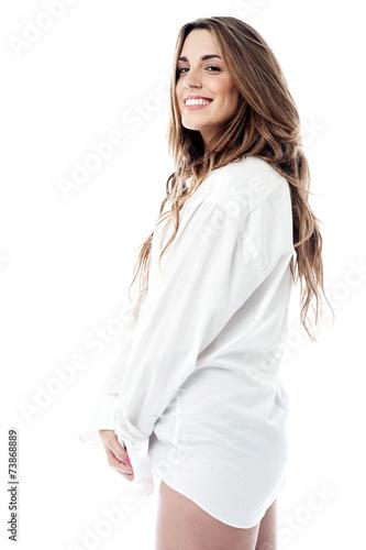 Tablou Canvas Sensual woman in man shirt