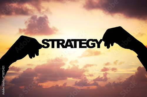 Fototapety, obrazy: Silhouette Businessman's Hands Holding Strategy During Sunset