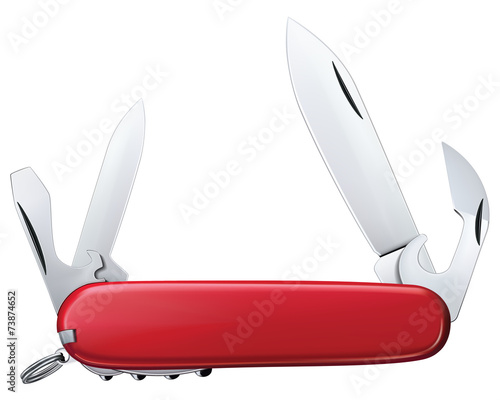 Photo Pocket knife isolated. Vector illustration