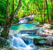 canvas print picture Cool waterfall in deep forest