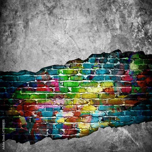 Poster Graffiti cracked brick wall