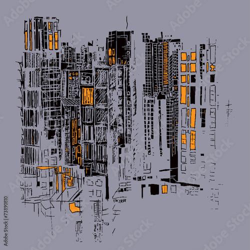wieczorne-miasto-rysunek-szkic