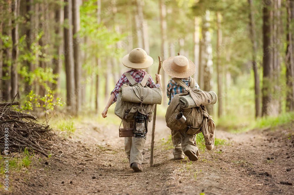 Fototapeta Boys on a forest road with backpacks